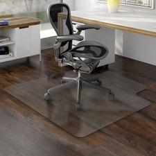 "Deflecto Non-studded Hard Floor Chairmats - Uncarpeted Floor - 53"" (1346.20 mm) Length x 45"" (1143 mm) Width - Lip Size 12"" (304.80 mm) Length x 25"" (635 mm) Width - Vinyl - Clear"