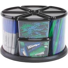 "Deflecto Carousel Storage Organizer - 9 Compartment(s) - 11.1"" Height x 11.1"" Width x 6.6"" Depth - Desktop - Black - Plastic - 1 Each"