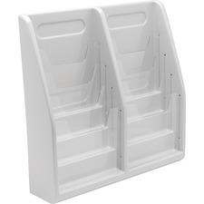 "Deflecto Multi-Compartment Literature Display - 8 Pocket(s) - 19.8"" Height x 20.3"" Width x 5"" Depth - Desktop, Wall Mountable - Gray - Plastic - 1Each"