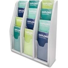 "Deflecto Multi-Compartment Literature Display - 12 Pocket(s) - 19.8"" Height x 15.8"" Width x 5"" Depth - Desktop, Wall Mountable - Gray - Plastic - 1Each"
