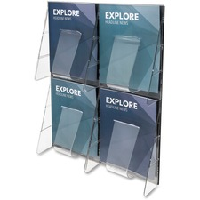 "Deflecto Stand-Tall Preassembled Wall System - 4 Pocket(s) - 18.8"" Height x 23.5"" Width x 2.9"" Depth - Wall Mountable - Clear - Plastic - 1 / Each"