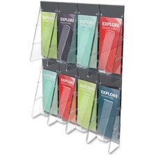 """Deflecto Stand-Tall Preassembled Wall System - 8 Pocket(s) - 23.5"""" Height x 18.3"""" Width x 2.9"""" Depth - Wall Mountable - Clear - Plastic - 1Each"""