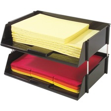 "Deflecto Industrial Tray Side-Load Stacking Tray - 1500 x Sheet - 2 Tier(s) - 3.5"" Height x 16.5"" Width x 11.8"" Depth - Black - Plastic - 2 / Set"