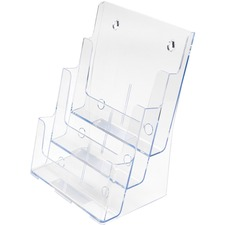 "Deflecto Multi-Compartment DocuHolder - 3 Compartment(s) - 3 Tier(s) - 12.6"" Height x 9.5"" Width x 8"" Depth - Desktop - Clear - Plastic - 1 Each"