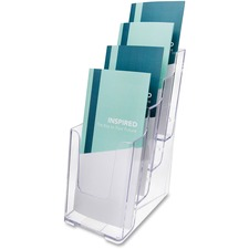 "Deflecto Multi-Compartment DocuHolder - 4 Pocket(s) - 4 Tier(s) - 10"" Height x 4.9"" Width x 8"" Depth - Desktop - Clear - Plastic - 1 Each"