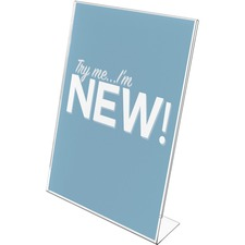 "Deflecto Slanted Side Load Sign Holder - 1 Each - 11"" (279.40 mm) Width x 17"" (431.80 mm) Height - Side-loading - Plastic - Clear"
