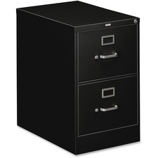 "HON 310 Series Vertical Files with Lock - 18.3"" x 26.5"" x 29"" - 2 x Drawer(s) for File - Legal - Vertical - Security Lock, Rust Resistant, Ball-bearing Suspension, Label Holder - Black - Baked Enamel - Metal - Recycled"