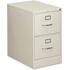"HON 310 Series 2-Drawer Vertical File - 18.3"" x 26.5"" x 29"" - 2 x Drawer(s) - Legal - Vertical - Security Lock, Rust Resistant, Ball-bearing Suspension, Label Holder - Light Gray - Baked Enamel - Metal - Recycled"