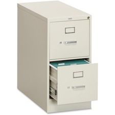 "HON 310 Series Vertical File With Lock - 15"" x 26.5"" x 29"" - 2 x Drawer(s) for File25.50"" (647.70 mm) Drawer Depth - Letter - Vertical - Security Lock, Rust Resistant, Ball-bearing Suspension, Label Holder, Durable, Reinforced, Welded - Putty - Baked Enam"