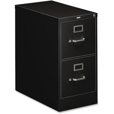 "HON 310 Series 2-Drawer Vertical File - 15"" x 26.5"" x 29"" - 2 x Drawer(s) for File - Letter - Vertical - Security Lock, Rust Resistant, Ball-bearing Suspension, Label Holder - Black - Baked Enamel - Metal - Recycled"