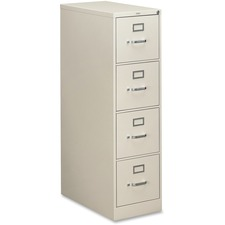 """HON 310 Series 4-Drawer Vertical File - 15"""" x 26.5"""" x 52"""" - 4 x Drawer(s) for File - Letter - Vertical - Security Lock, Rust Resistant, Ball-bearing Suspension, Label Holder - Light Gray - Baked Enamel - Metal - Recycled"""