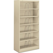 "HON 600 Series Shelf Open File Cabinet - 36"" x 16.8"" x 75.9"" - 6 x Shelf(ves) - Legal - Putty - Steel - Recycled"