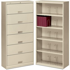 "HON 600 Series Shelf Open File Cabinet - 36"" x 13.8"" x 75.9"" - 6 x Shelf(ves) - Letter - Putty - Steel - Recycled"