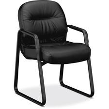 HON Pillow-Soft Guest Chair, Leather - Black Leather Seat - Fiber Back - Black Frame - Sled Base - 1 Each