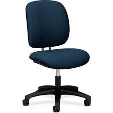 HON ComforTask Chair, Blue Fabric - Blue Fabric Seat - Black Steel Frame - 5-star Base - Blue, Black - Olefin - 1 Each