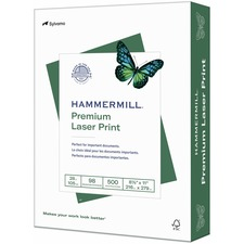 "Hammermill Laser Print Laser Paper - Letter - 8 1/2"" x 11"" - 28 lb Basis Weight - Ultra Smooth - White"