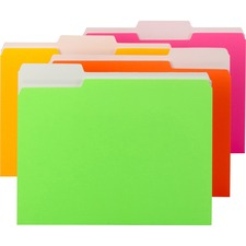 SMD 11925 Smead 1/3 Cut Tab Neon Colors File Folders SMD11925
