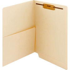 SMD 34100 Smead 2-ply Manila Pocket Folders w/ Fastener SMD34100