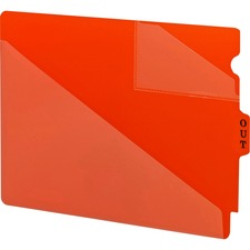 Smead Vinyl Pockets End Tab Poly Out Guides - Printed Center Tab(s) - Message - OUT - Red Poly Tab(s) - 50 / Box