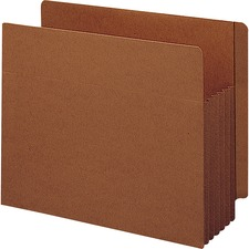 """Smead Tuff Pocket End Tab File Pockets - Letter - 8 1/2"""" x 11"""" Sheet Size - 5 1/4"""" Expansion - Straight Tab Cut - 16.5 pt. Folder Thickness - Redrope - Redrope - Recycled - 10 / Box"""