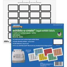 "TAB 48090 Tabbies Legal Exhibits-U-Create 1"" Labels TAB48090"