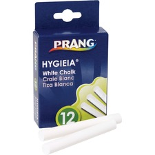"Dixon White Chalk Sticks - 3.25"" (82.55 mm) Length - 0.38"" (9.53 mm) Diameter - White - 12 / Box"