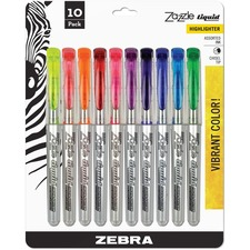 ZEB 71111 Zebra Zazzle 10-color Fluorescent Highlighters Set ZEB71111