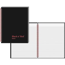 "Black n' Red Hardcover Business Notebook - 70 Sheets - Double Wire Spiral - 24 lb Basis Weight - 8 1/2"" x 11"" - White Paper - Red Binder - Black Cover - Perforated, Laminated, Wipe-clean Cover, Hard Cover - 1Each"