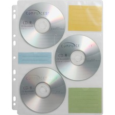 Compucessory CD/DVD Ring Binder Storage Pages - 6 x CD/DVD Capacity - 9 x Holes - Ring Binder - Clear - Polypropylene - 25 / Pack