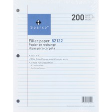SPR 82122 Sparco 3HP Notebook Filler Paper SPR82122