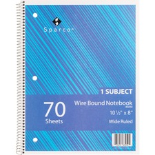 SPR 83250 Sparco Quality Wirebound Wide Ruled Notebooks SPR83250