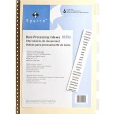 SPR 01256 Sparco Data Indexes w/ Insertable Tabs SPR01256