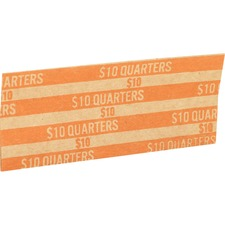 Sparco Flat Coin Wrappers - 1000 Wrap(s)Total $10 in 40 Coins of 25¢ Denomination - 27.22 kg Paper Weight - Kraft - Orange
