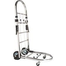 "Sparco Portable Platform Luggage Cart - 90.72 kg Capacity - 4 Casters - 6"" (152.40 mm), 1.75"" (44.45 mm) Caster Size - Steel - 14.5"" Width x 26"" Depth x 38.3"" Height - Chrome"