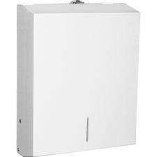 "Genuine Joe C-Fold/Multi-fold Towel Dispenser Cabinet - C Fold, Multifold Dispenser - 13.50"" (342.90 mm) Height x 11"" (279.40 mm) Width x 4.25"" (107.95 mm) Depth - Stainless Steel - White"