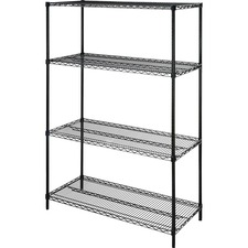 "Lorell Starter Shelving Unit - 48"" x 18"" x 72"" - 4 x Shelf(ves) - 1814.37 kg Load Capacity - Black - Powder Coated - Steel - Assembly Required"