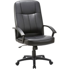 Lorell Chadwick Executive Leather High-Back Chair - Leather Black Seat - Black Frame - 5-star Base - Black