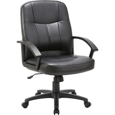 "Lorell Chadwick Managerial Leather Mid-Back Chair - Leather Black Seat - Black Frame - 5-star Base - Black - 21.5"" Seat Width x 19.5"" Seat Depth - 26"" Width x 28"" Depth x 42.5"" Height"
