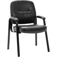 Lorell Chadwick Executive Leather Guest Chair - Black Leather Seat - Black Steel Frame - Black - Steel, Leather - 1 Each