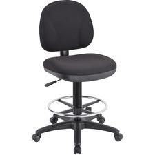 Lorell Pneumatic Adjustable Multi-task Stool - Black Seat - Black