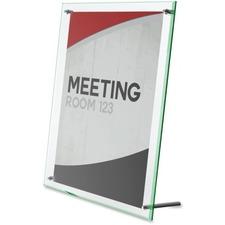 "Deflecto Superior Image Beveled Sign Holder - 1 Each - 5"" (127 mm) Width x 7"" (177.80 mm) Height - Rectangular Shape - Self-standing, Lightweight, Beveled Edge - Clear, Green"