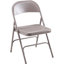 "Lorell Steel Folding Chairs - 4/CT - Steel Beige Seat - Steel Beige Frame - 19.4"" Width x 18.3"" Depth x 29.6"" Height"