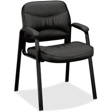 Basyx by HON VL643 Leather Guest Leg Base Chair - Black Leather Seat - Black Steel Frame - Sled Base - Black - Leather - 1 Each
