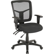 Lorell ErgoMesh Series Managerial Mid-Back Chair - Black Fabric Seat - Black Back - Black Frame - Mid Back - 5-star Base