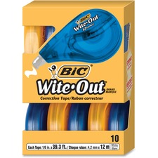 Wite-Out Wite-Out EZ Correct Correction Tape - 33.3 ft Length - 1 Line(s) - Odorless, Photo-safe, Tear Resistant, Self-winding - 10 / Pack - White, Translucent