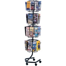 "Safco Rotary Wire Brochure Display Stand - 32 Compartment(s) - 4.50"" (114.30 mm) x 1.37"" (34.80 mm) - 60"" Height x 15"" Width x 15"" Depth - Floor, Wall Mountable - Charcoal - 1 / Each"