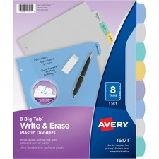 AVE16171 - Avery&reg Big Tab Write & Erase Plastic Dividers