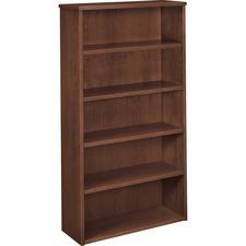 BSX BW2193NN Basyx BW Mahogany Veneer 5-shelf Bookcase BSXBW2193NN