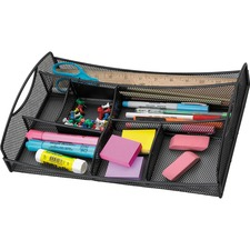 """Safco Mesh Drawer Organizer - 7 Compartment(s) - 2.8"""" Height x 13"""" Width x 8.8"""" Depth - Black - Steel - 1 Each"""
