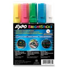 Expo Bright Sticks Marker Set - Bullet Marker Point Style - Pink, Blue, White, Yellow, Green Water Based Ink - Assorted Barrel - 5 / Set